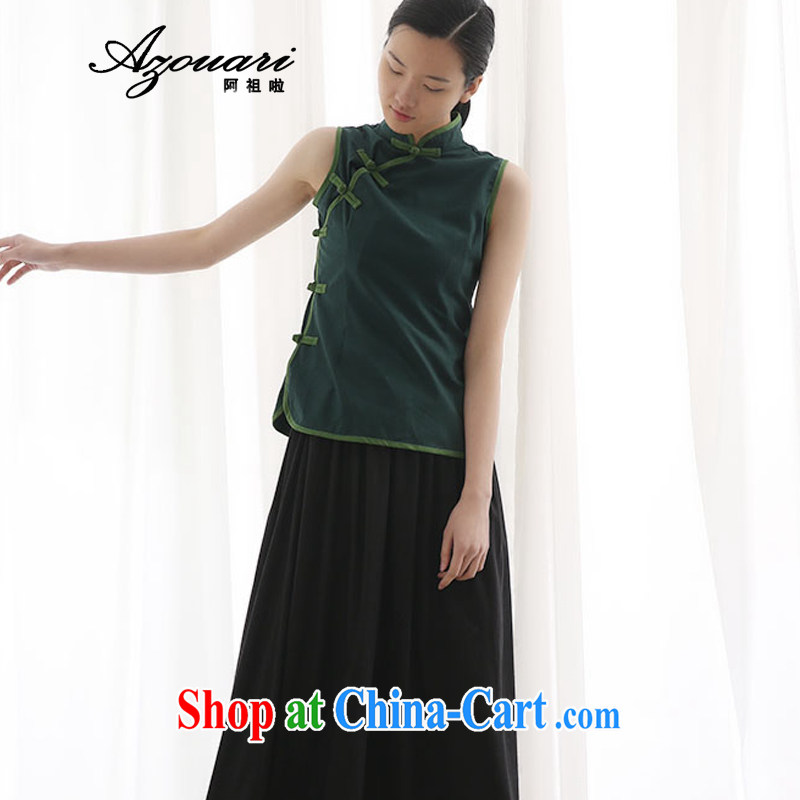 The defense (Azouari) 2015 summer, for improved cheongsam shirt cotton the Chinese beauty Chinese qipao, a tea service dark L