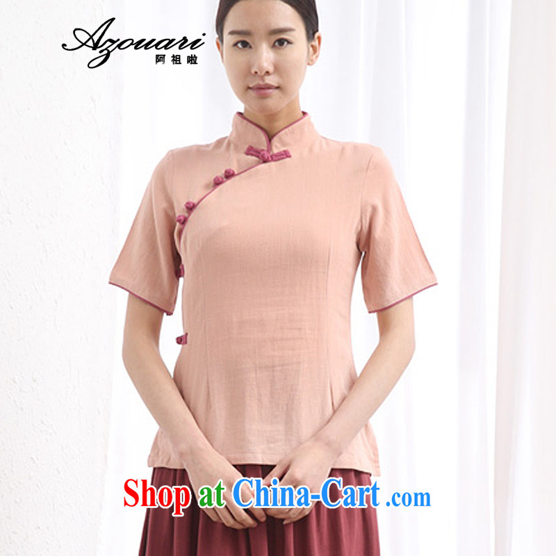 The TSU defense _Azouari_ 2015 daily Han-dresses T-shirt short-sleeved Chinese tea, cotton clothes the girls, for the charge-back skin red XXL