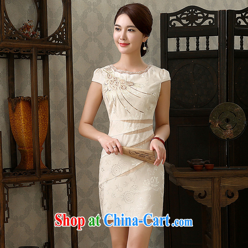 2015 spring dresses new stylish Chinese female elegant improved graphics thin, short cheongsam dress apricot XXL