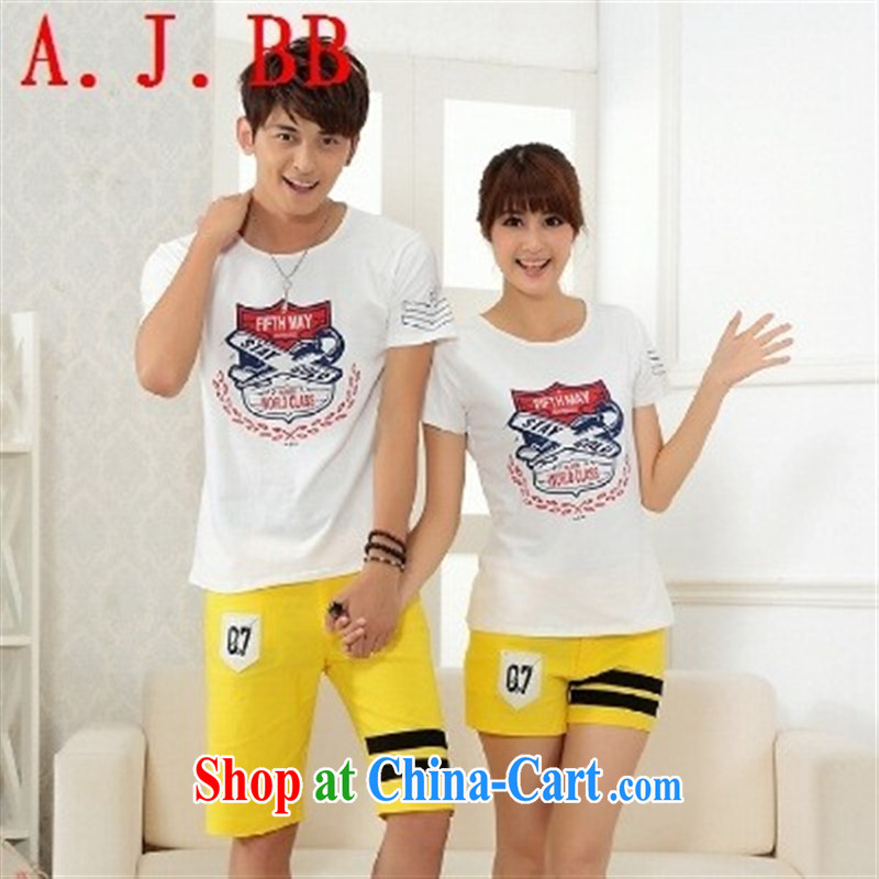 2015 spring and summer new Korean fashion style lounge women couples for stamp duty on short-sleeved round-collar and cotton T pension white XXXL _men and women_