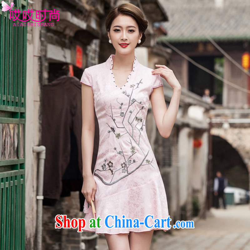 Ah, ah, stylish 2015 season new women leaders V crowsfoot skirt with embroidery short cheongsam 1123 _red XL