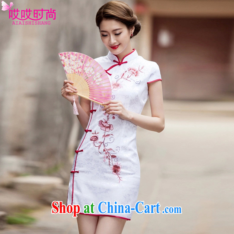 Ah, ah, stylish summer 2015 new female retro fashion beauty graphics thin daily outfit _1124 white L