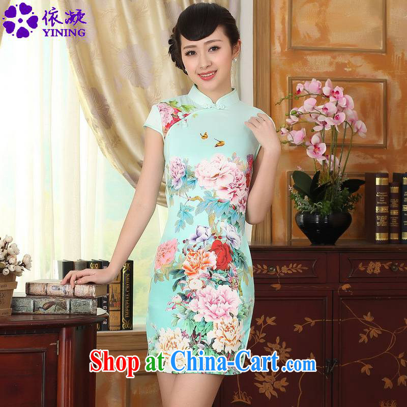 According to fuser summer stylish new Ethnic Wind improved Chinese qipao, for a tight budget stamp duty cultivating short Tang replace cheongsam dress LGD/D 0296 #2 sky XL