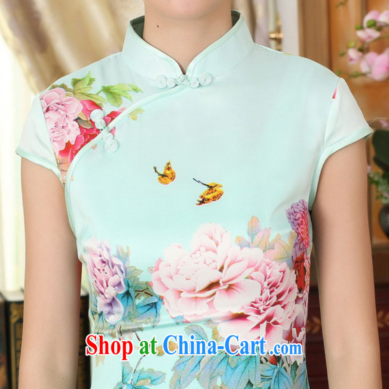 According to fuser summer stylish new Ethnic Wind improved Tang replace traditional costumes, for the hard-pressed stamp duty cultivating short Chinese qipao dress LGD/D 0296 #2 sky XL, fuser, and shopping on the Internet