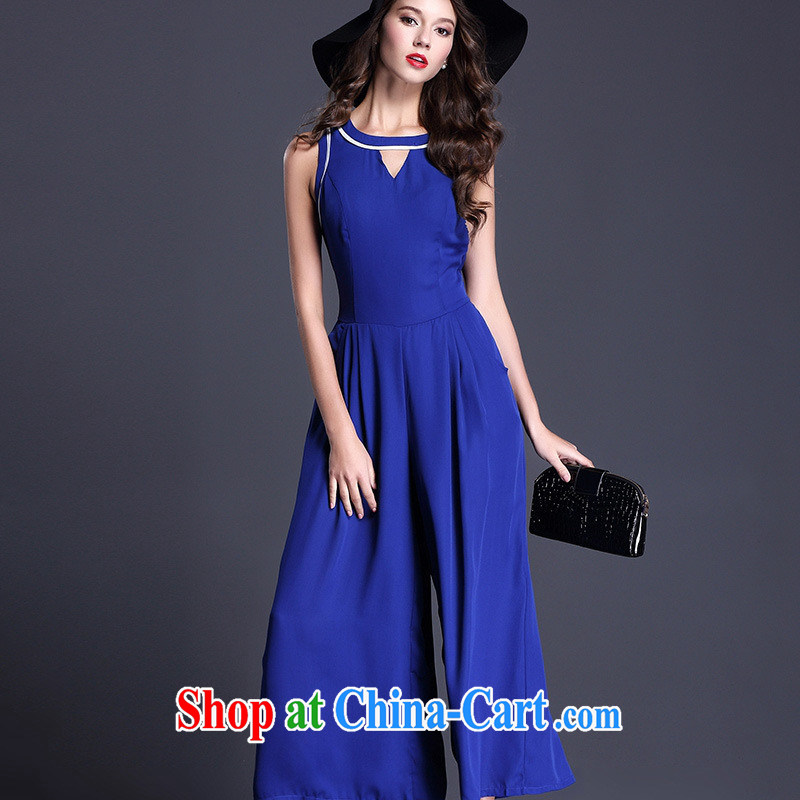 Ya-ting store 2015 spring new products in Europe and the solid-colored sleeveless round neck snow woven pants on a pants girl blue L
