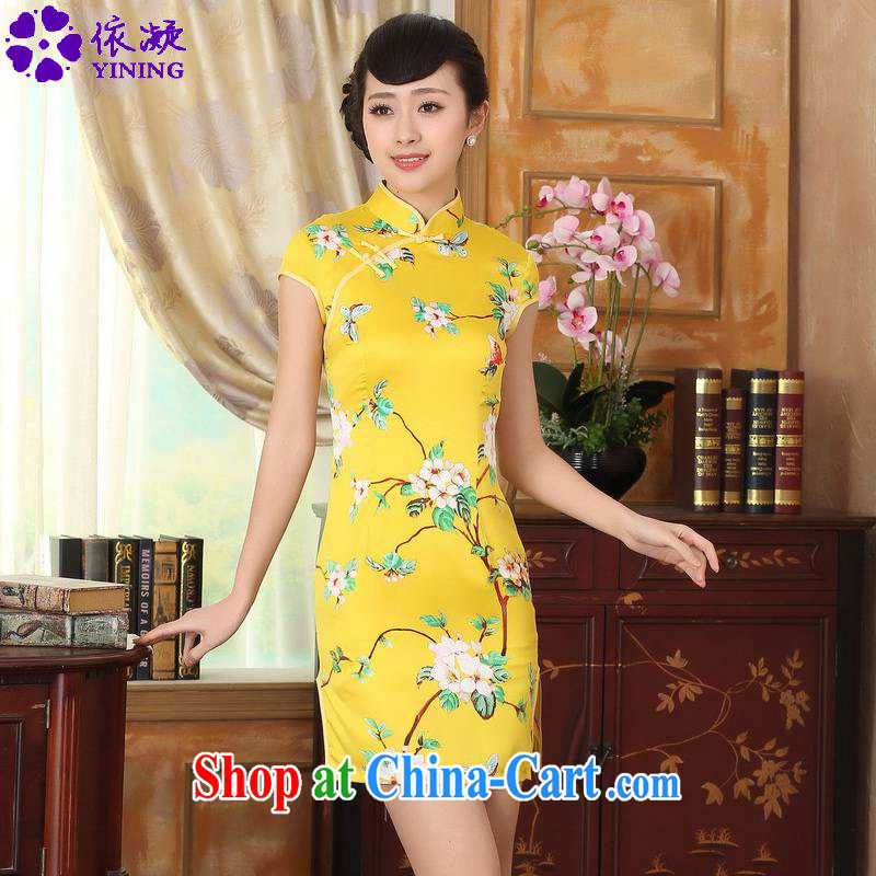 According to fuser summer stylish new retro improved Chinese Chinese qipao classic Tray Tie beauty short Chinese qipao dress LGD_D 0004 _gold 2XL