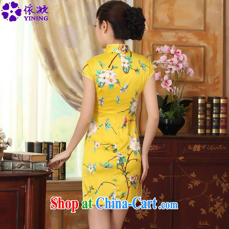 According to fuser summer stylish new retro improved Chinese Chinese qipao classical-tie cultivating short Chinese qipao dress LGD/D 0004 #gold 2XL, fuser, and shopping on the Internet