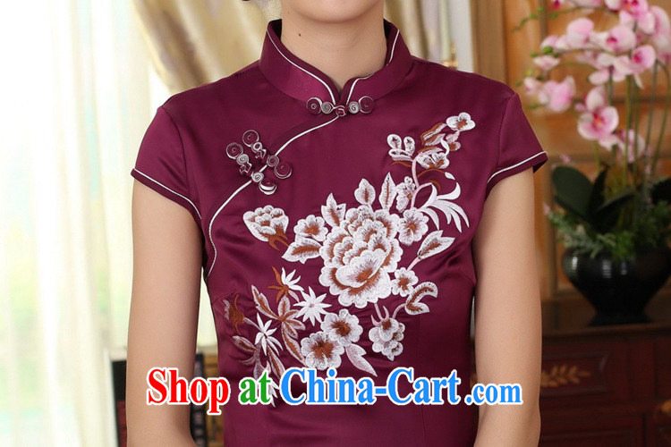 According to fuser summer stylish new Chinese improved Chinese qipao, for a tight embroidered beauty short Chinese qipao dress LGD/D 0311 #mauve 2 XL pictures, price, brand platters! Elections are good character, the national distribution, so why buy now enjoy more preferential! Health