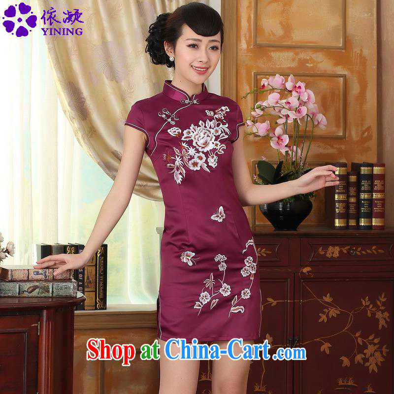 According to fuser summer stylish new Chinese improved Chinese qipao, for a tight embroidered beauty short Chinese qipao dress LGD_D 0311 _mauve 2 XL