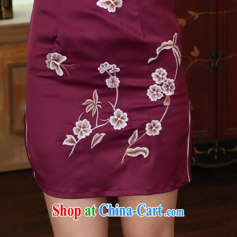 According to fuser summer stylish new Chinese improved Chinese qipao, for a tight embroidered beauty short Chinese qipao dress LGD/D 0311 #mauve 2 XL, according to fuser, shopping on the Internet