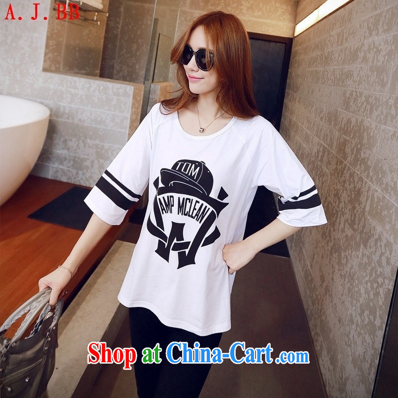 Black butterfly 2015 summer new women hat stamp loose short-sleeved T-shirt Han version leisure T pension black XL