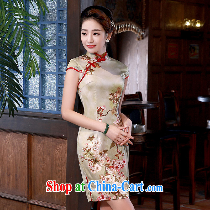 cheongsam dress improved stylish 2015 new dresses daily sauna silk Silk Cheongsam Q 1069 champagne color XXL