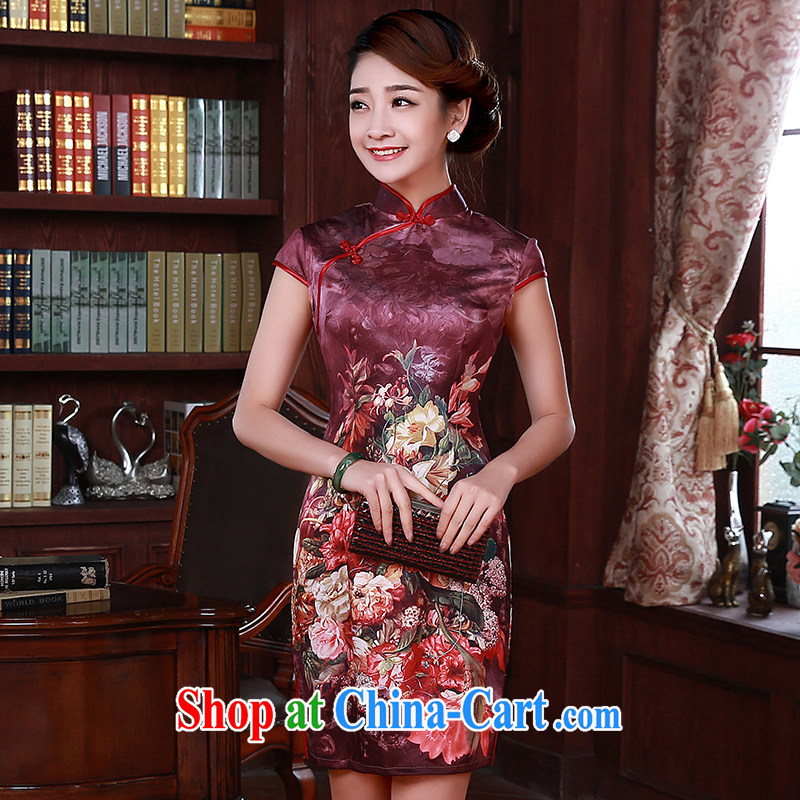 Dresses new 2015 summer retro short-sleeved improved stylish sauna silk silk Chinese Q 1070 red XXL