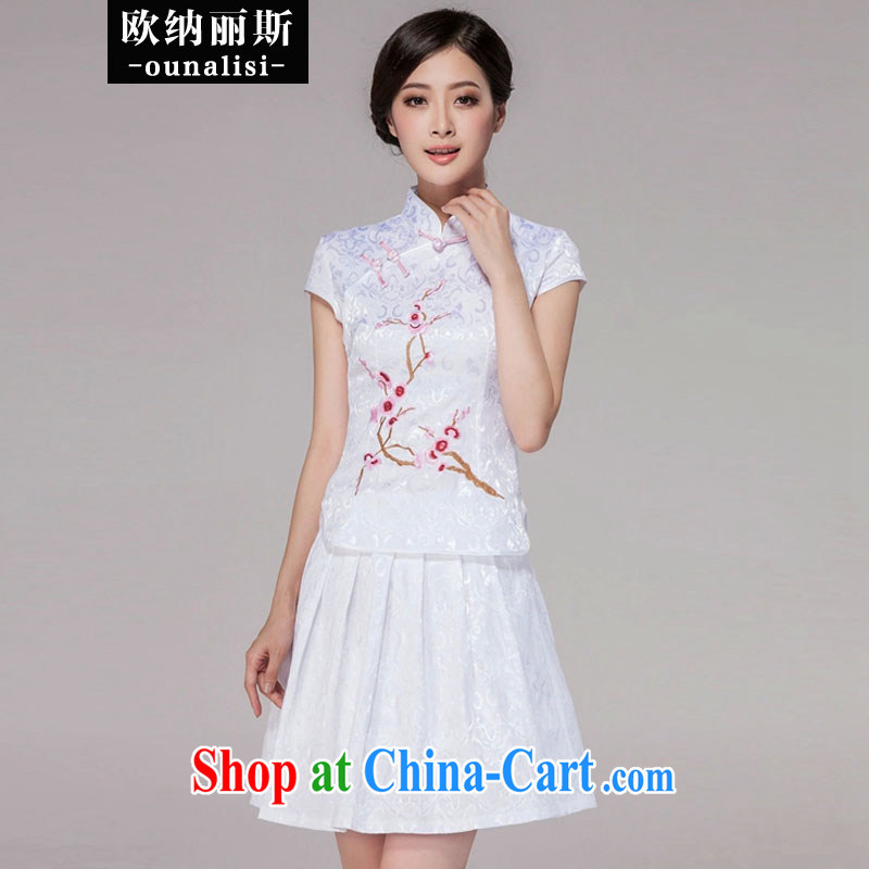 In her 2015 spring and summer New Tang clothing dresses high-end retro style two-piece dresses with white dresses L