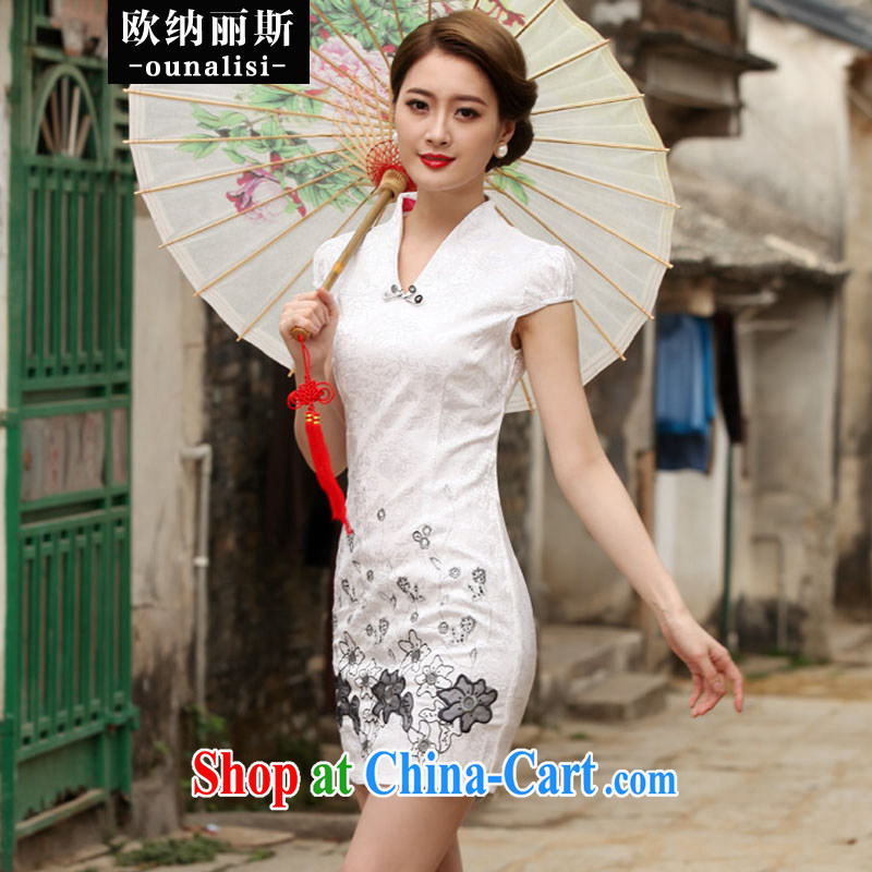 In her 2015 summer new Stylish retro dresses, dresses Daily Beauty dress white XL