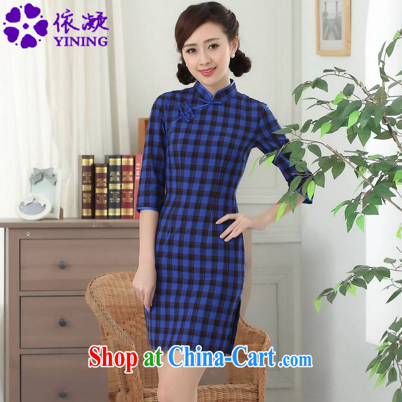 According to fuser summer stylish new Chinese improved Chinese qipao, for a tight Plaid Short cultivation, Chinese cheongsam dress LGD_E 0021 _ -A PO blue 2 XL