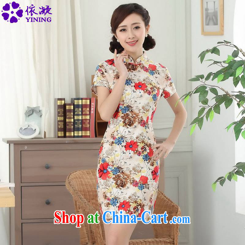 According to fuser summer stylish new Chinese antique Chinese qipao, for classic Tray Port cultivating short Chinese qipao dress LGD/D 0309 #picture color XL