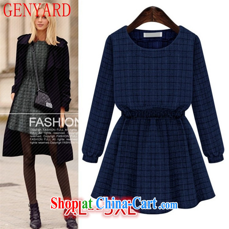 Qin Qing store 2015 spring new thick MM Europe autumn and winter, new and long-sleeved video thin-solid waist dress blue 5 XL