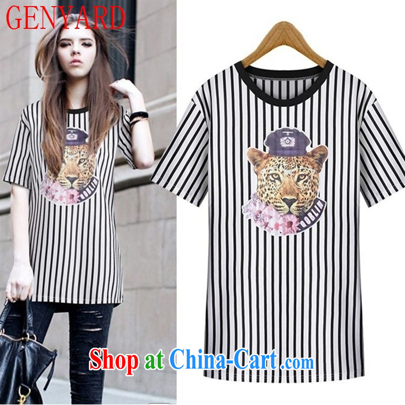 Qin Qing store 2015 summer new put Tiger head round-collar short-sleeve, long T pension black streaks L