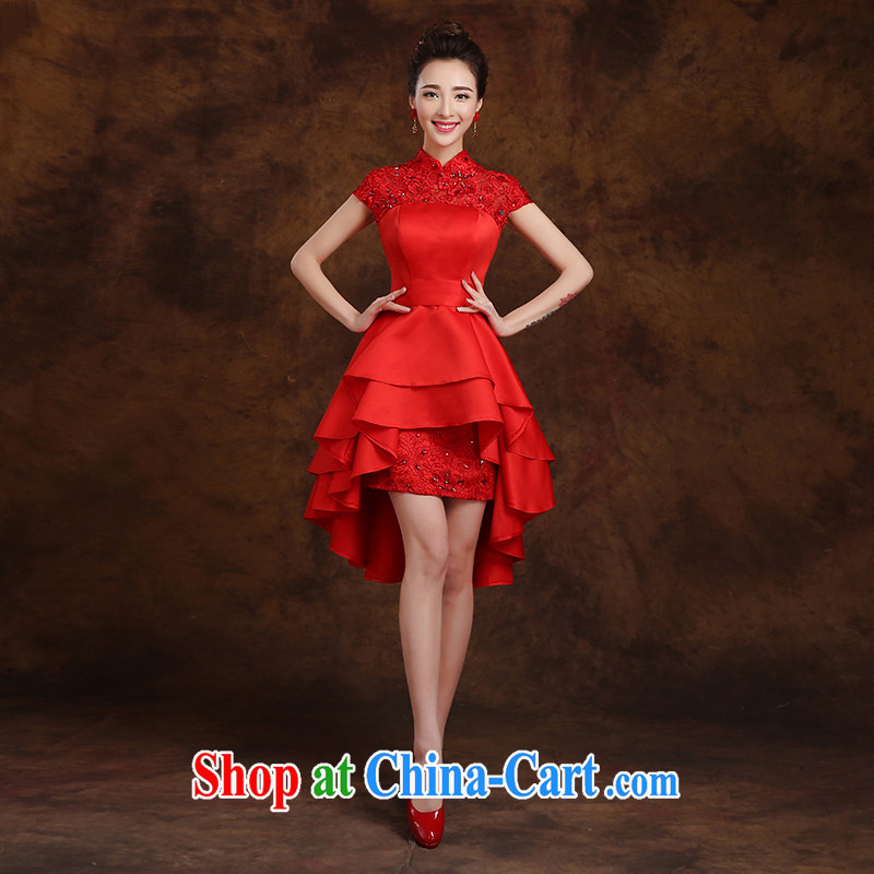 White first to approximately 2015 new short before long, bridal dinner banquet annual meeting moderator cheongsam Evening Dress wedding dress small red tailored contact Customer Service