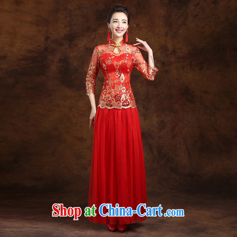 White first to approximately 2015 new spring and summer red bridal toast clothing dresses wedding dresses Chinese married Yi Long Red tailored contact Customer Service
