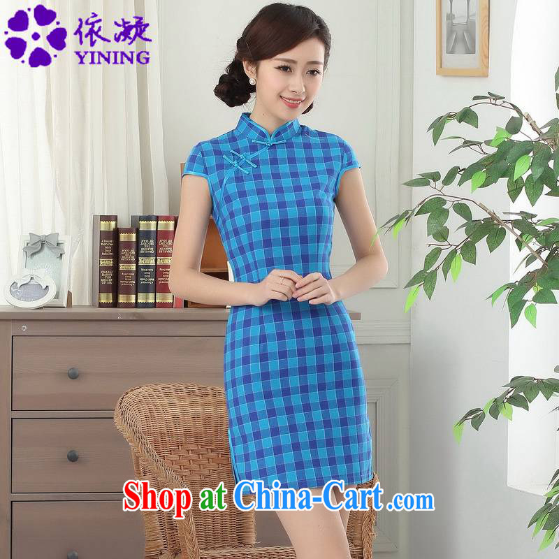 According to fuser summer stylish new retro improved Chinese Chinese qipao, for a tight, cultivating Chinese cheongsam dress LGD_D 0308 _ -A lake blue S