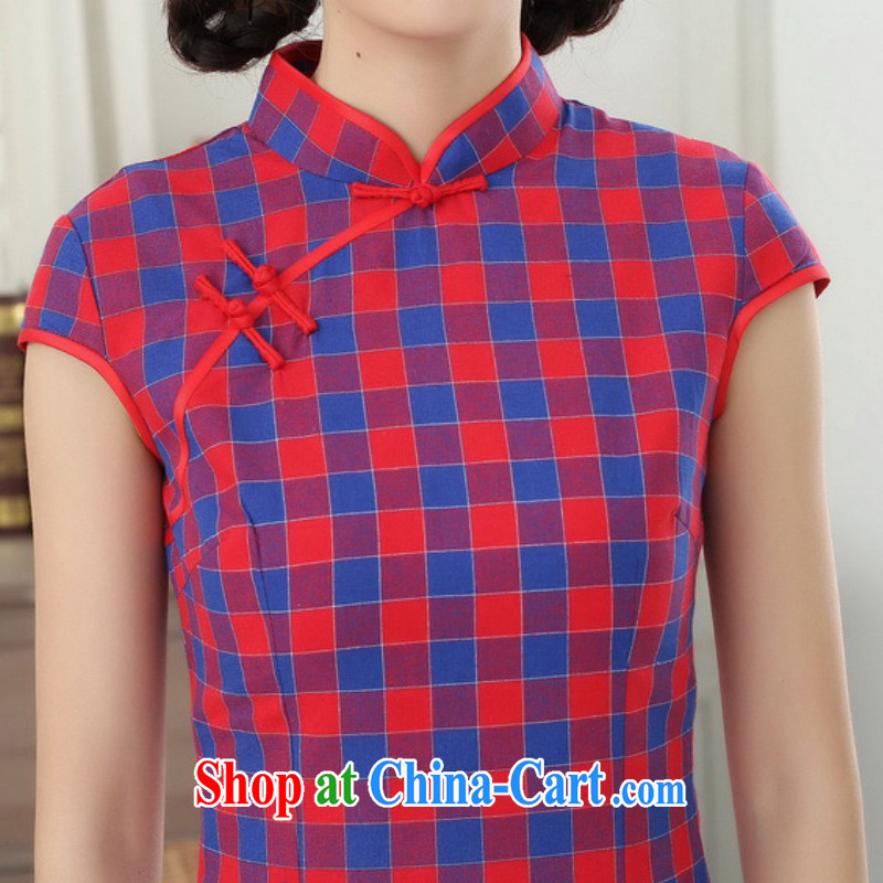 According to fuser summer stylish new retro improved Chinese Chinese qipao, for a tight, cultivating Chinese cheongsam dress LGD/D 0308 # -A lake blue S, fuser, and shopping on the Internet
