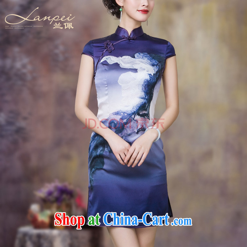 Perry, sauna silk heavy Silk Cheongsam summer 2015 new improved stylish dresses cheongsam dress purple L