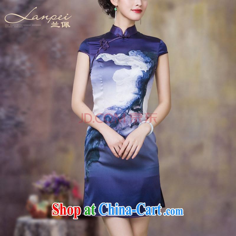 Perry, sauna silk heavy Silk Cheongsam summer 2015 new improved stylish dresses cheongsam dress purple L