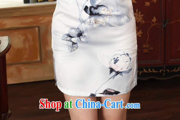 According to fuser summer stylish new retro improved Chinese qipao, for a tight snap-cultivating short Chinese qipao dress LGD/D 0002# pale 2 XL pictures, price, brand platters! Elections are good character, the national distribution, so why buy now enjoy more preferential! Health