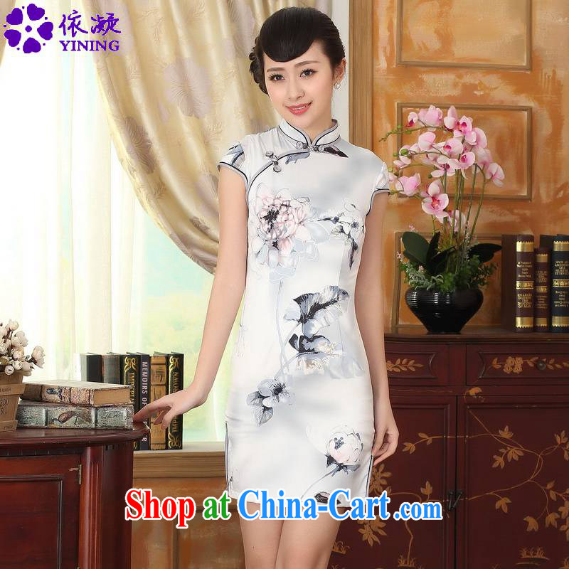 According to fuser summer stylish new retro improved Chinese qipao, for a tight-tie beauty short Chinese qipao dress LGD/D 0002# pale 2 XL
