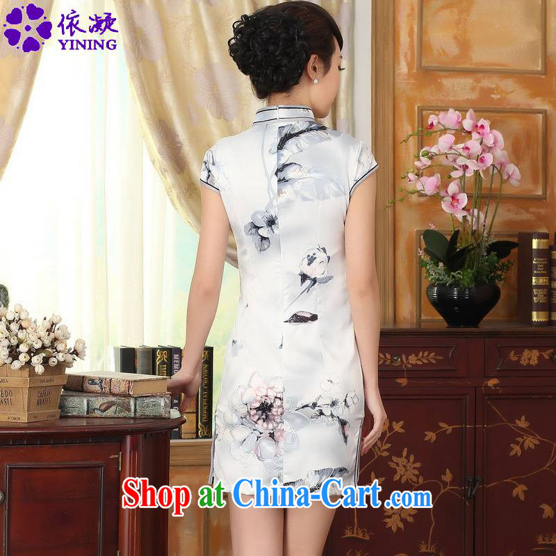 According to fuser summer stylish new retro improved Chinese qipao, for a tight snap-cultivating short Chinese qipao dress LGD/D 0002# pale 2 XL, according to fuser, shopping on the Internet