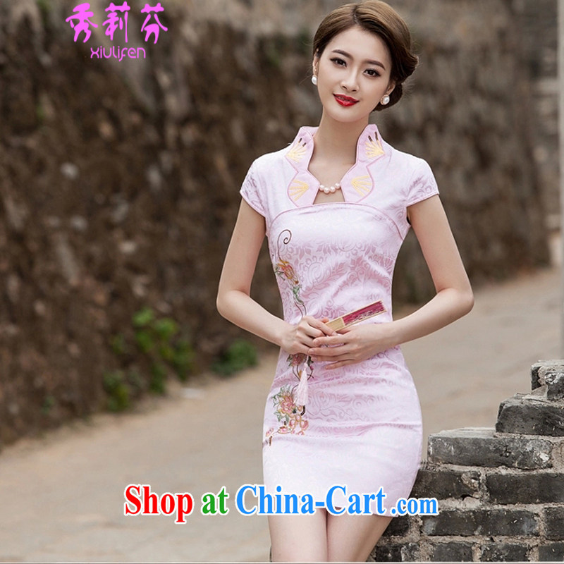 Hsiu-li-fen 2015 new summer fashion cheongsam dress, Style short dress B - 518 - 1122 pink XL