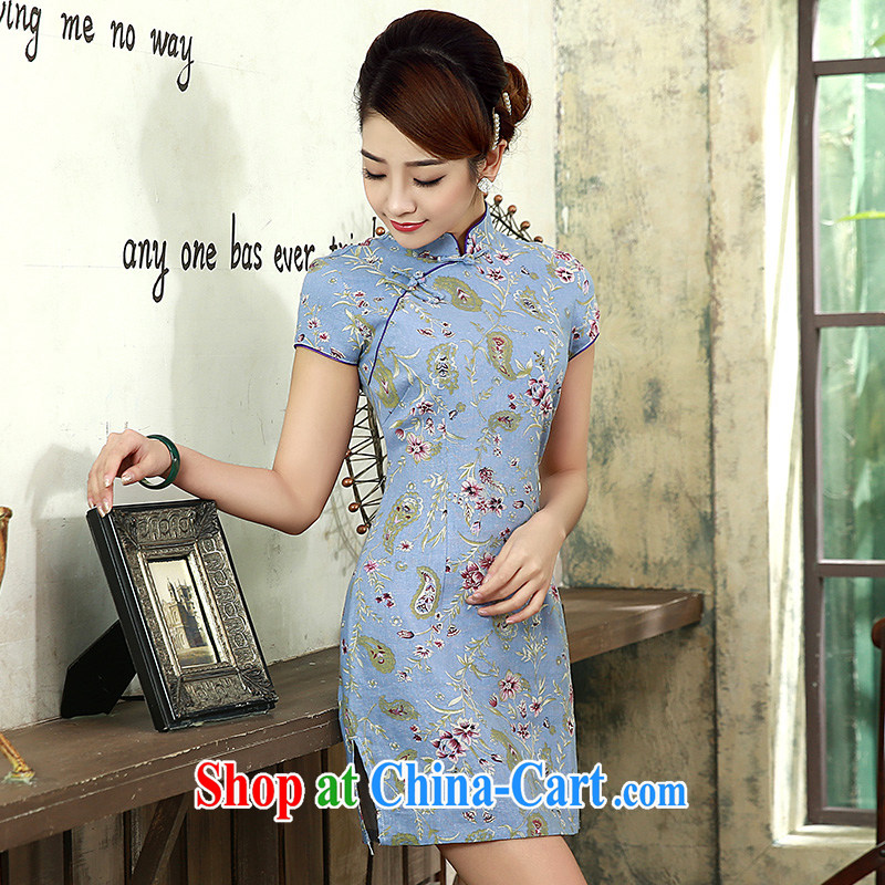 cheongsam dress 2015 new summer beauty graphics thin short, short-sleeved, cotton the retro dresses Q 1071 light blue XXL