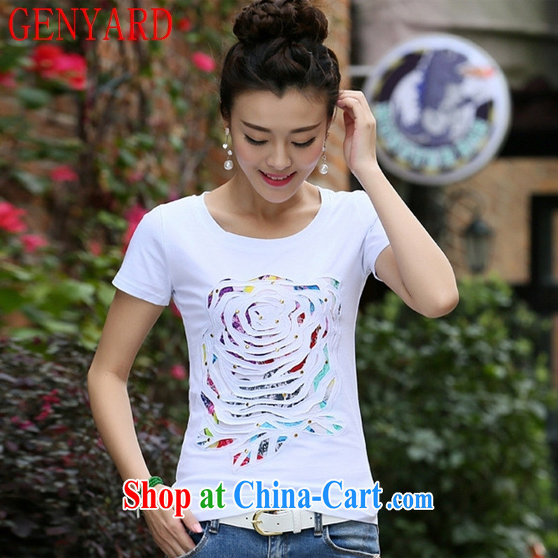 Qin Qing store 2015 summer new female Korean fashion beauty the code graphics thin flower embroidery round-collar short-sleeve cotton shirt T female white XL