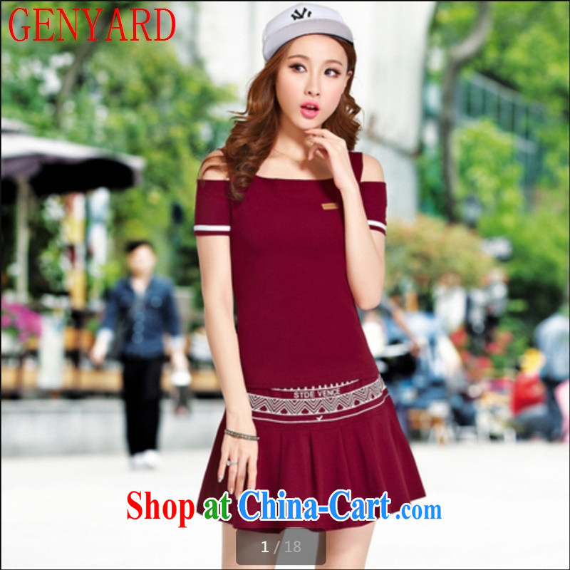 Deloitte Touche Tohmatsu store sunny summer 2015 new Korean fashion bare shoulders graphics thin larger leisure set beauty skirt two piece Sport Kits female wine red XXL
