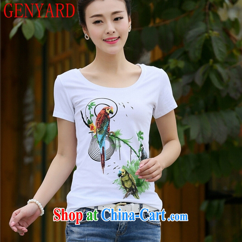 Deloitte Touche Tohmatsu store sunny summer 2015 with new Korean Beauty larger graphics skinny bird stamp wood drill with round collar style cotton shirt T female white 2 XL