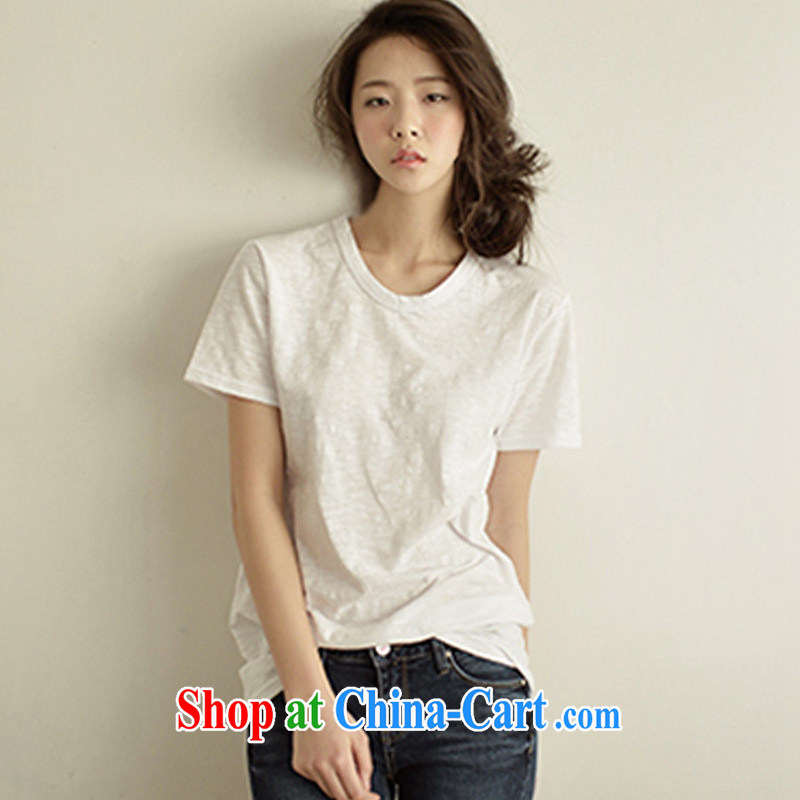 2015 summer short-sleeve girls T-shirt loose Korean version the code female the howling ghost cotton Solid Color cotton round neck T-shirt black short-sleeved XL