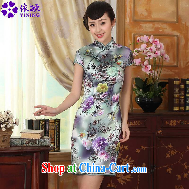 According to fuser summer fashion summer Chinese improved Chinese qipao, for a tight stamp short, cultivating silk Chinese cheongsam dress LGD_Z 0001 _picture color 2 XL