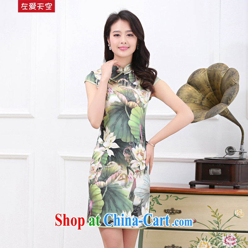 Left love sky 2015 summer short skirt retro improved daily cultivating the waist classic sauna silk Silk Dresses lotus pond, take XXL