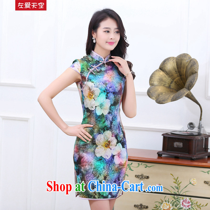 The left love sky 2015 summer heavy silk elegant qipao sauna silk the forklift truck cheongsam dress the color dresses summer 7 color XXL