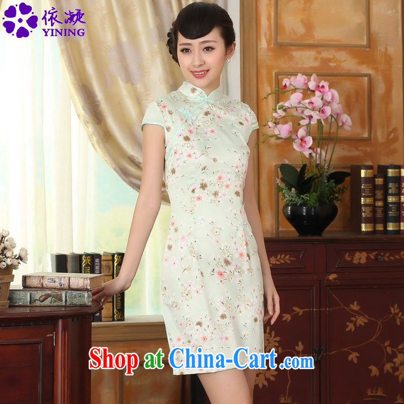 According to fuser summer new retro ethnic wind improved Tang replace traditional costumes, for the hard disk for cultivating short Chinese qipao dress LGD/D 0295 #2 chainlink XL