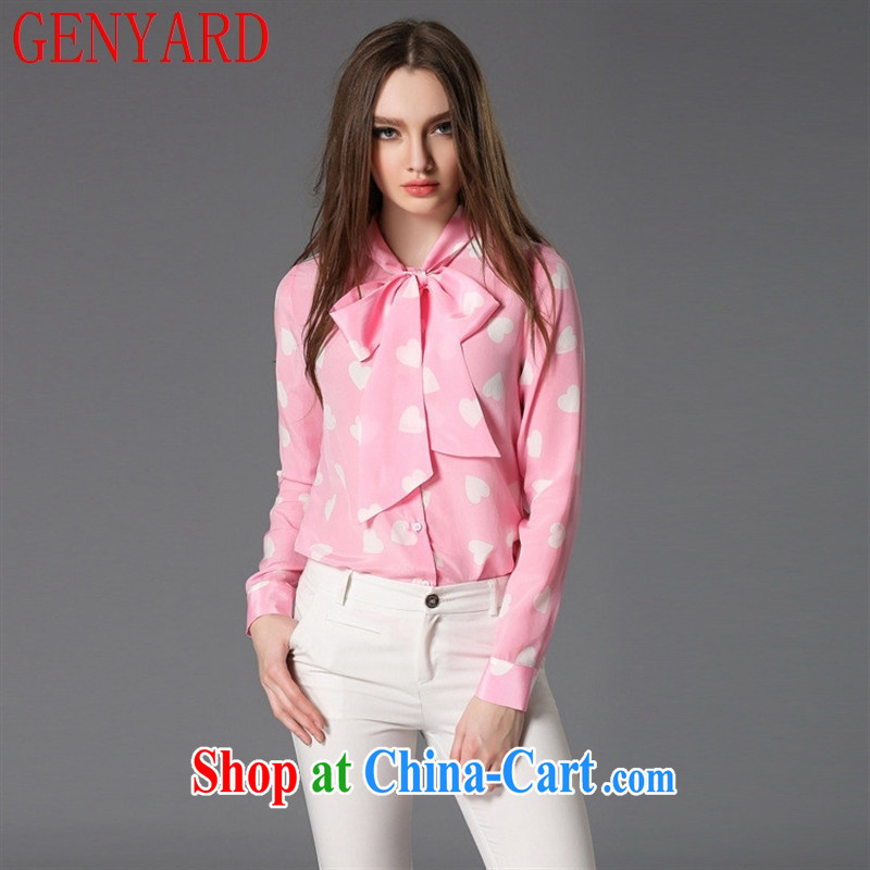 Deloitte Touche Tohmatsu sunny store 2015 spring and summer new blouses Korean fashion-loving shirt bow tie silk shirt girl picture color XL