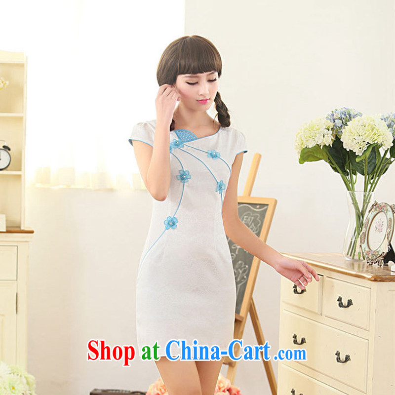 Summer 2015 New Style Fashion Chinese round collar low collar embroidery flower cheongsam sexy cheongsam dress skirt 62 blue XXL