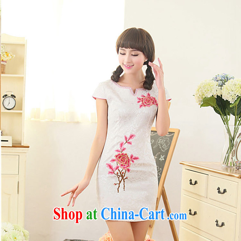 Summer 2015 New Style Fashion Chinese round collar low collar embroidery flower cheongsam sexy cheongsam dress skirt 63 red XL