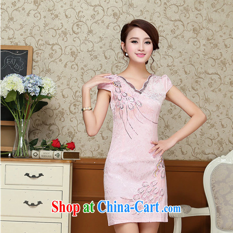 2015 summer dress new Korean version, long, further than cultivating petal skirt embroidery cheongsam dress 58 pink XXL