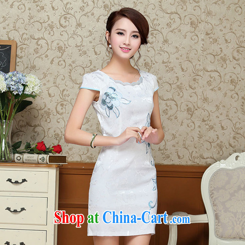 2015 summer dress new Korean version, long, further than cultivating petal skirt embroidery cheongsam dress 59 light blue XXL