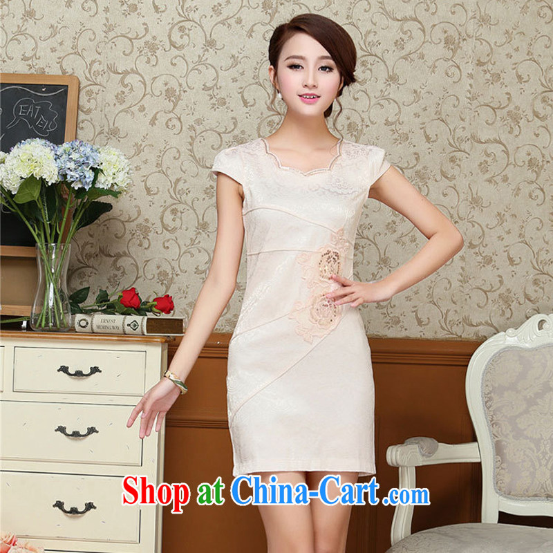 2015 summer new elegant Han-female dresses stylish improved retro beauty everyday dresses skirts girls 61 light blue XXL