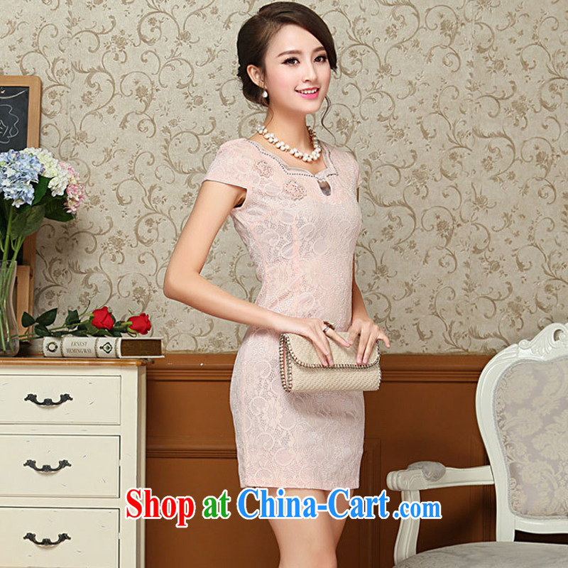 2015 spring and summer new Korean Beauty lace dresses package and skirt dress retro improved qipao skirts 67 pink XXL
