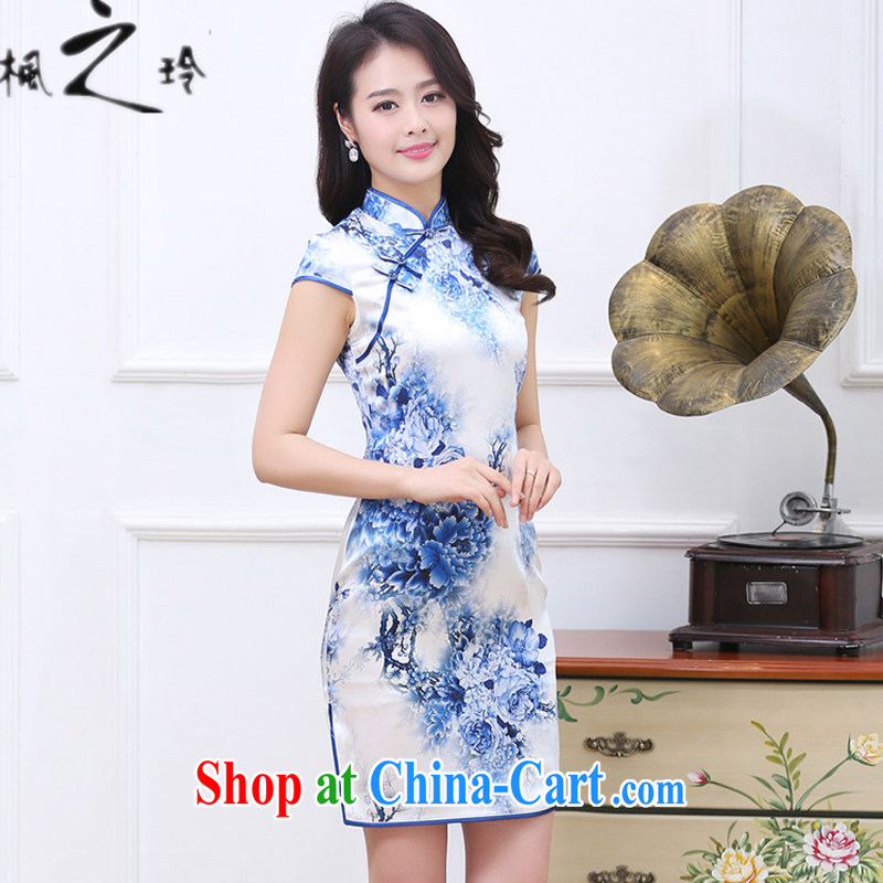 2015 summer new paragraph in cultivating long Ethnic Wind Chinese Antique improved cheongsam Silk Dresses female blue and white porcelain XXL